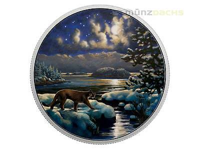 30 $ Dollar Animals in the Moonlight Cougar Puma Kanada 2 oz Silber PP 2017