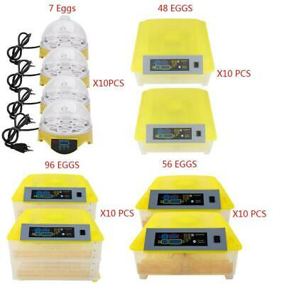 LOT10 7/48/56/96 Egg Incubator Temperature Control Automatic Turning Chicken
