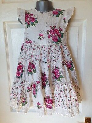 Girls Dress Age 2-3 Cream Floral Layered And Gathered Full Skirt