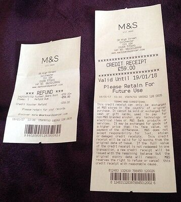 Marks and Spencer £59.00 credit gift voucher