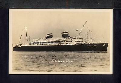 1940 SS SANTA LUCIA Real Photo Postcard RPPC USS LEEDSTOWN AP-73 WWII SUNK