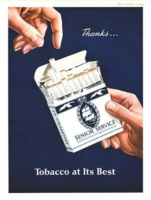 SENIOR SERVICE CIGARETTES - Tobacco At Its Best  (1953 Advertisement)