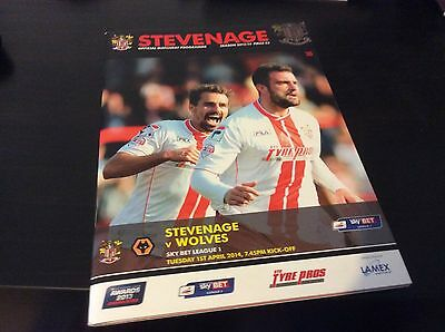 Stevenage v Wolverampton Wanderers 2013-14 c/w Teamsheet and Ticket