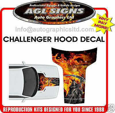 2011- Up Dodge Challenger The Reaper Custom Hood Decal  Graphic  Stripe