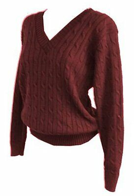 New Women ladies stunning knitted cable v neck burgundy jumper top sz 16