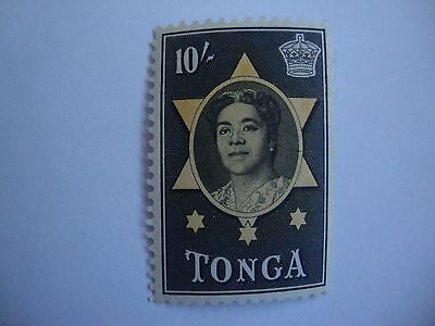 Tonga mint stamp 1953 10s Queen Salote yellow & black SG 113