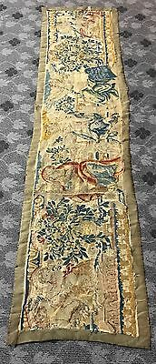 ANTIQUE 17th C AUBUSSON FRENCH HAND WOVEN TAPESTRY WALL HANGING PANEL