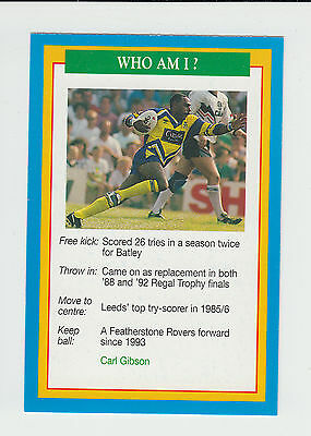 Rugby League : Carl Gibson : Leeds : UK sports game card - blue back