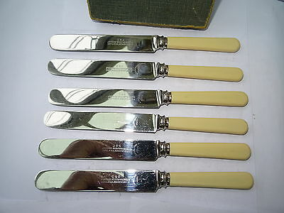 Vintage Boxed Set of 6 Stainless Steel Small Table Knives by Joseph Elliot & Son