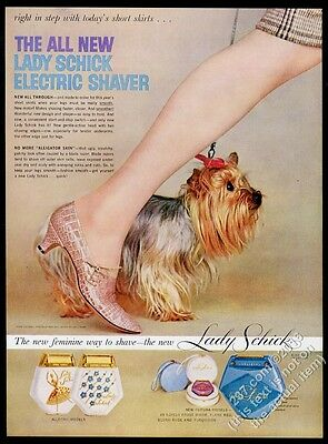 1958 Yorkie Yorkshire Terrier photo Lady Schick shaver vintage print ad