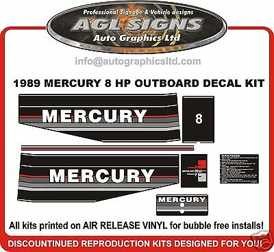 1989 1990 1991 MERCURY 8 HP OUTBOARD MOTOR DECAL SET reproductions eight
