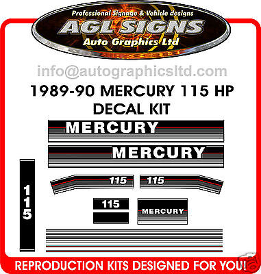 MERCURY 115 hp OUTBOARD DECAL SET 1989 1990 ,   90 100 HP
