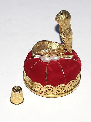 Vintage Sparrow Bird on Nest Red Pin Cushions Thimble Holder Made in Spain