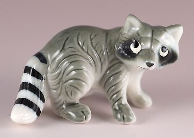 Vintage Bug House Miniature Bone China Mama Raccoon Figurine Glossy Finish