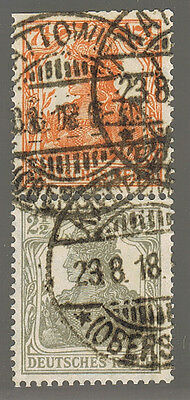 DR ZUSAMMENDRUCK S13 ° GERMANIA 7 1/2 + 2 1/2 Pf. = GERMAN EMPIRE 1919 SE-TENANT