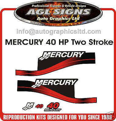 40 HP MERCURY DECALS, MERC OUTBOARD reproduction, 50 60