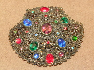 Vintage Art Deco Jeweled Red Blue Rhinestone Brass Gold Tone Dress Clip