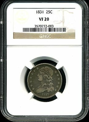 1831 25C Large Letters Capped Bust Quarter Dollar VF20 NGC 3570772-003