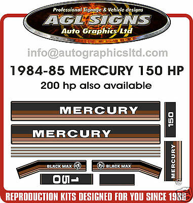 MERCURY 150 BLACK MAX DECALS 1984 - 1985  REPRODUCTION  200 also available