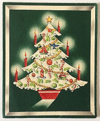 Beautiful Tree with Candles Christmas VTG Greeting Card