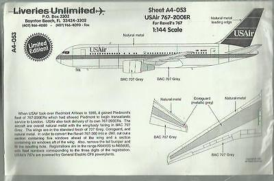 Liveries Unlimited Decal A4-053 Boeing 767-200 ER USAir decal in 1:144 Scale