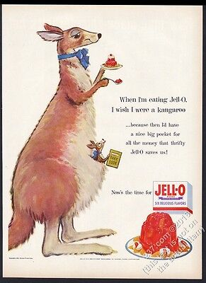1954 Jello Jell-O kangaroo and joey art vintage print ad