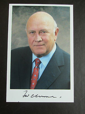 F W De Klerk Hand Signed Photograph South African President