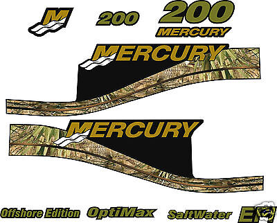 Mercury 200 Camouflage Offshore Outboard Decal Kit,  150 175 250 Hp's Available