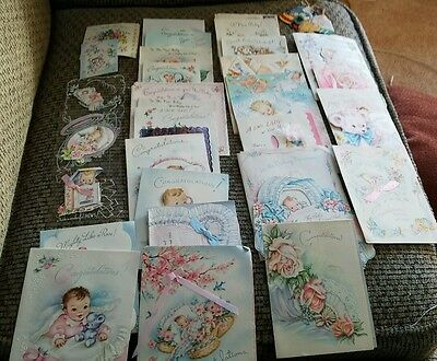100+ Vintage Paper Baby Congratulations  Greeting Cards Huge Lot 1950's Sweet!