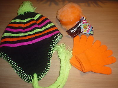 //*:*\ Girls Neon Hat, Ear Muffs & Magic Gloves .. Never Worn Size Small 5-8