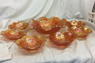 Imperial Marigold Carnival Glass Vintage Grape 7 Piece Berry Set