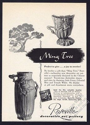 1949 Roseville Pottery Ming Tree cup vase photo vintage print ad