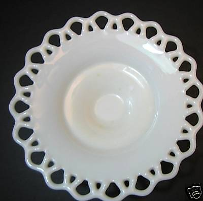 Bowl Round Reticulated Edge White Glass Vintage