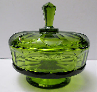 "Green Channeled Glass Short Pedestal Covered Candy Bowl  Dish 6 1/2"" Tall VTG"