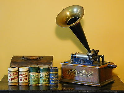 c1893 Edison Standard Phonograph with Horn and Records - MISSING Reproducer