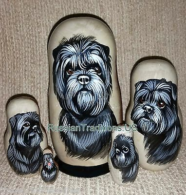 Affenpinscher on Five Russian Nesting Dolls. Dogs.