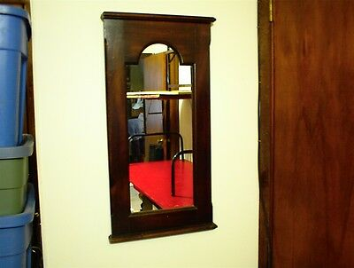 """VINTAGE GLASS MIRROR WITH WOOD FRAME WALL HANGING 30½"""" x 16"""""""