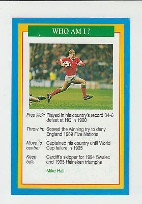 Rugby Union : Mike Hall : Wales : UK sports game card - blue back