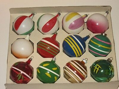 Vtg Box 12 assorted WWII Opaque Unsilvered Color Stripes Glass Xmas Ornaments