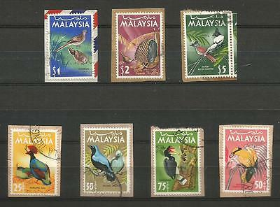 A 1965 Short Set Of 7 To $5 Of Good/fine Used Bird Stamps On Paper From Malaysia