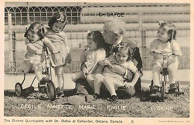 Dionne Quintuplets with Dr.Dafoe,Callander,Ontario,Canada,Used,1937