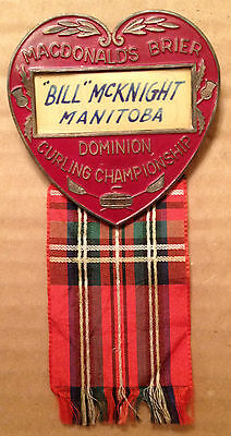 1938 MACDONALDS BRIER DOMINION CURLING CHAMPIONSHIP PIN - BILL McKNIGHT, MB.