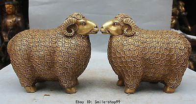 """10"""" Chinese Bronze Brass Carving Wealth Copper Money Animal Sheep Statue Pair"""