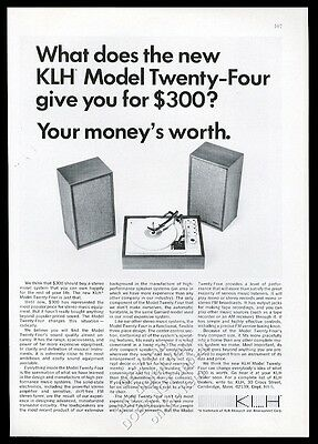1967 KLH model 24 stereo system photo vintage print ad