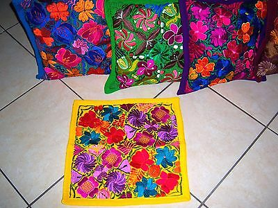 Mexican Satin Embroidered Yellow Zipper Pillow Cover - New-Gorgeous