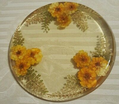 Vintage Gold Lucite Acrylic Trivet Hot Plate with Pressed Flowers Unmarked