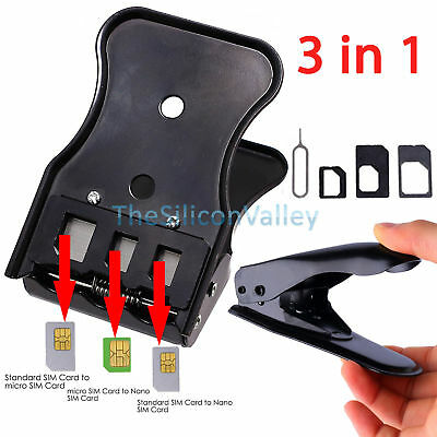 Micro/Standard to Nano SIM Card Cutter 3 in 1 For Apple iPhone 4 5 6 Samsung US