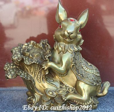 11'' Chinese Pure Bronze Wealth Yuanbao Money Cabbage Rabbit Statue Sculpture