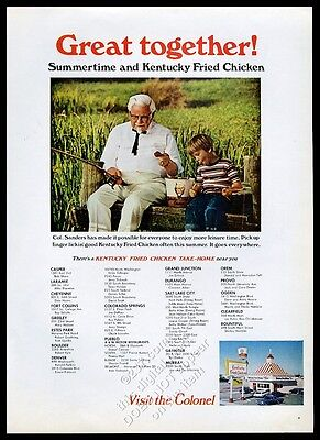 1969 Colonel Sanders fishing photo KFC Kentucky Fried Chicken vintage print ad