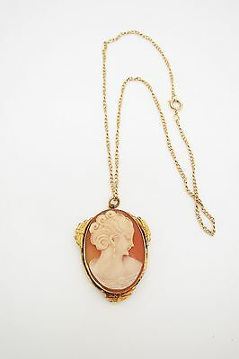 Beautiful Old Amco GF Carved Shell Cameo Locket w/Chain